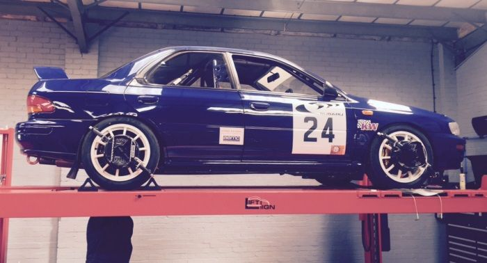 Tyre-Smart (Essex) Subaru on ramp for wheel alignment